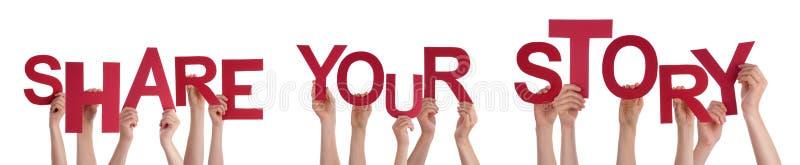 Folkhänder som rymmer rött ord, delar din berättelse royaltyfri foto