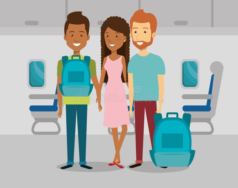 Folkhandelsresande i flygplanet royaltyfri illustrationer