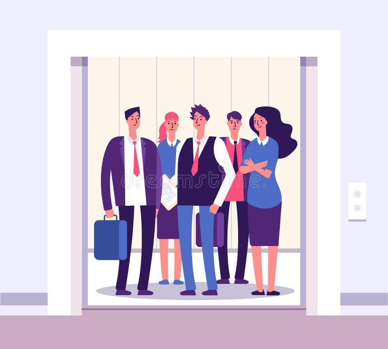 Folkhiss Elevatorpersoner som står kvinnamangruppen inom hisskontorsinre med affärsvektorn för öppen dörr stock illustrationer