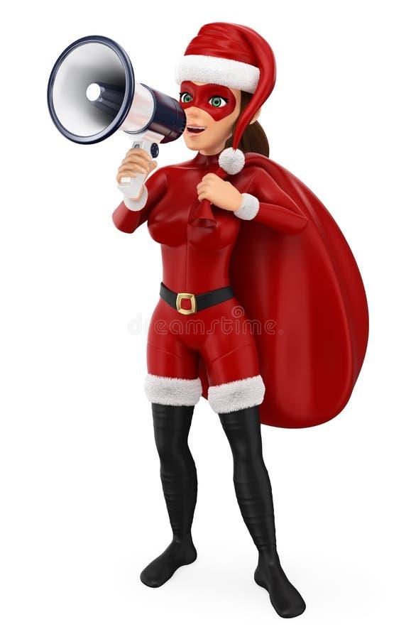 folkillustration för jul 3d Kvinnasuperhero med en säck som talar på en megafon Isolerad vitbakgrund royaltyfri illustrationer