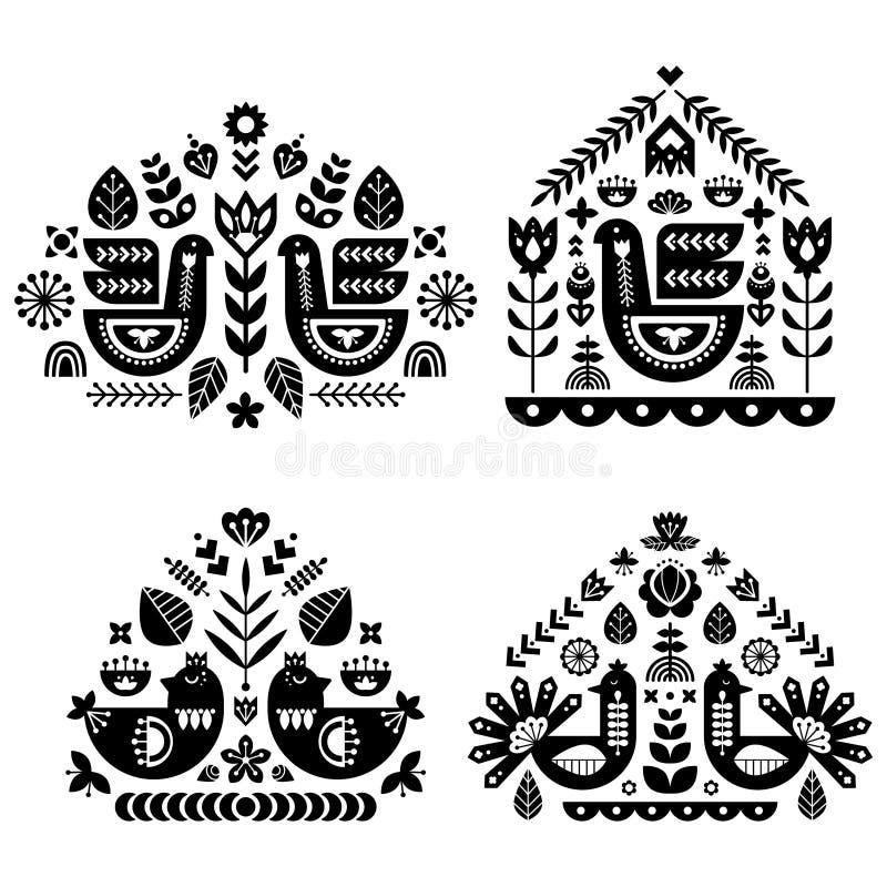 Folkkonstmodellsamling med enkel modell fyra Monokrom dekorativ sammansättning stock illustrationer