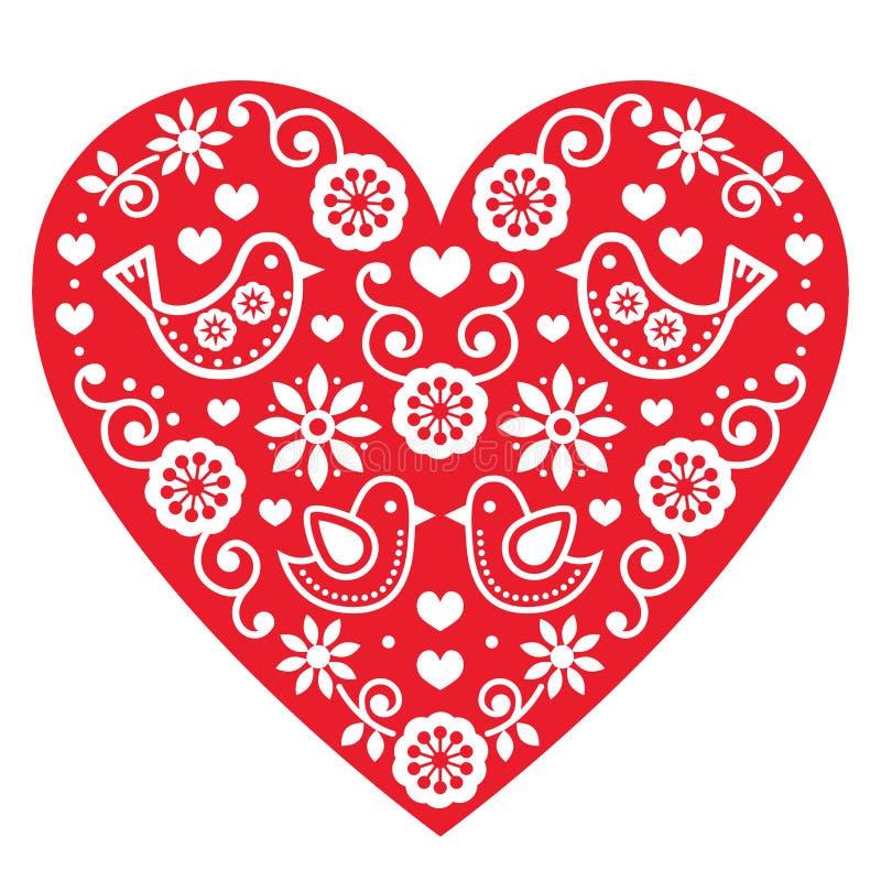 Folkkonstvalentin förälskelse för hjärta för dag, bröllop, födelsedaghälsningskort stock illustrationer
