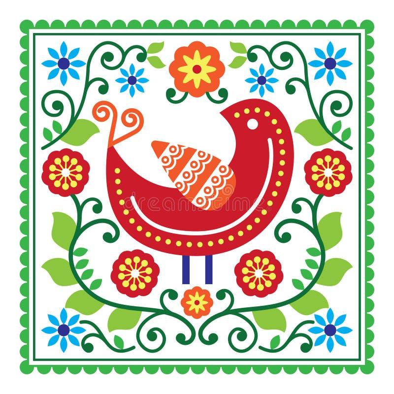 Folkkonstvektormodell med fågeln och blommor vektor illustrationer