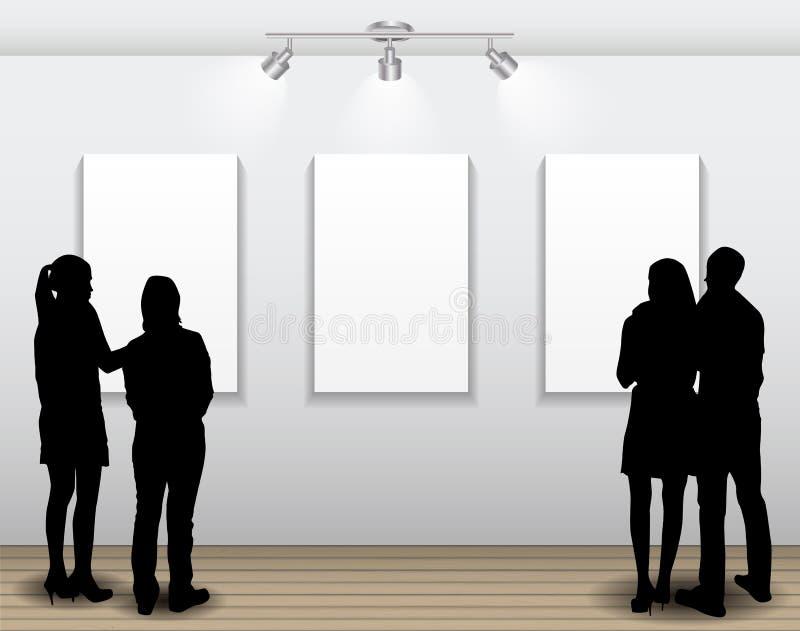 Folkkonturer som ser på den tomma ramen i Art Gallery fo royaltyfri illustrationer