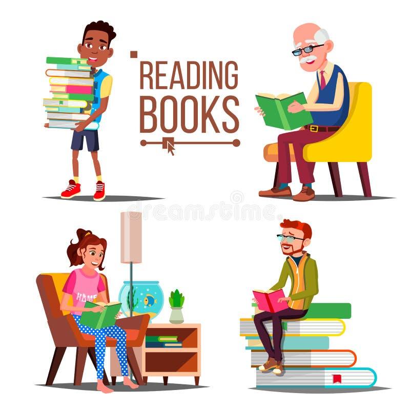 Folkläsebokvektor stor bokbunt Utbildning pappers- bok arkiv Man kvinna, gamal man, barn isolerat vektor illustrationer
