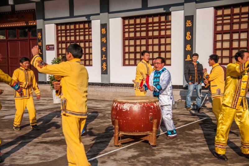Folklåt för Hubei Badong icke-material kulturarv och dans, kombination för ` för `-Ye Yeer ho arkivfoton