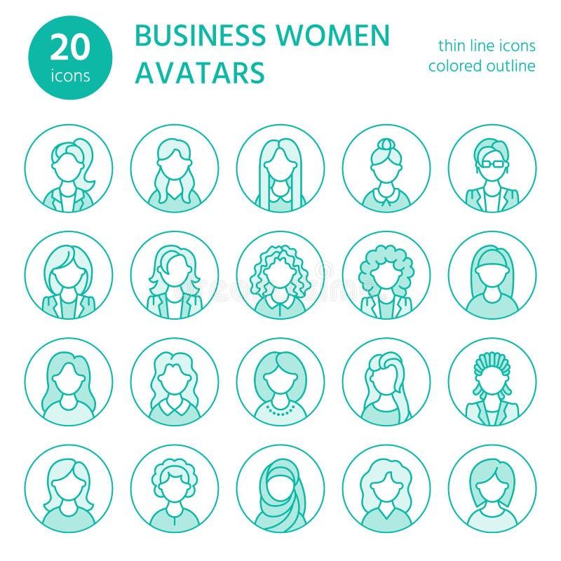 Folklinje symboler, avatars för affärskvinna Skissera symboler av kvinnliga yrken, sekreteraren, chefen, läraren, student vektor illustrationer
