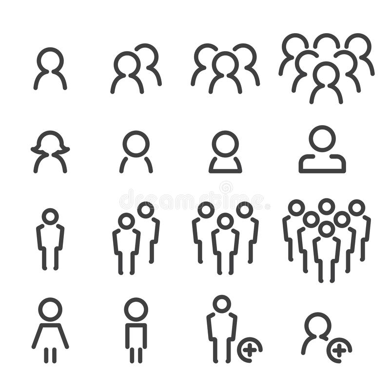Folklinje symbolsuppsättning royaltyfri illustrationer