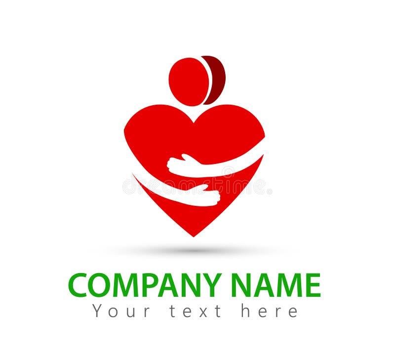 Folklogo, hjärtaform, händer, tillsammans, par, röd logo för förälskelse royaltyfri illustrationer