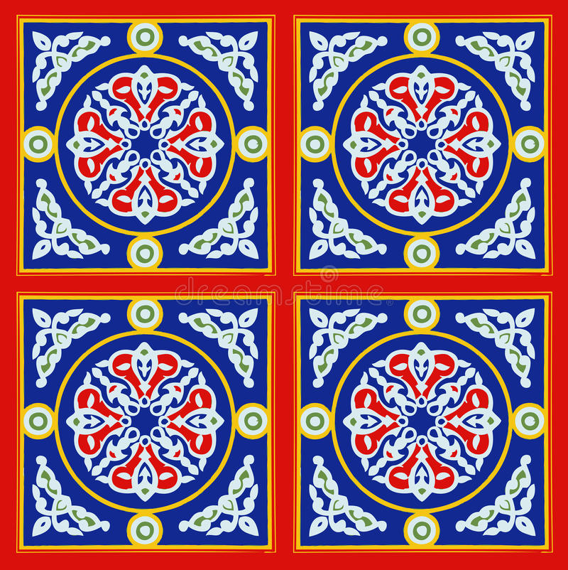 Egyptian Tent Fabric Pattern Red and blue. Folklore Arabic design ornament in blue and red Egyptian tent fabric designed in different patterns & colors stock photography
