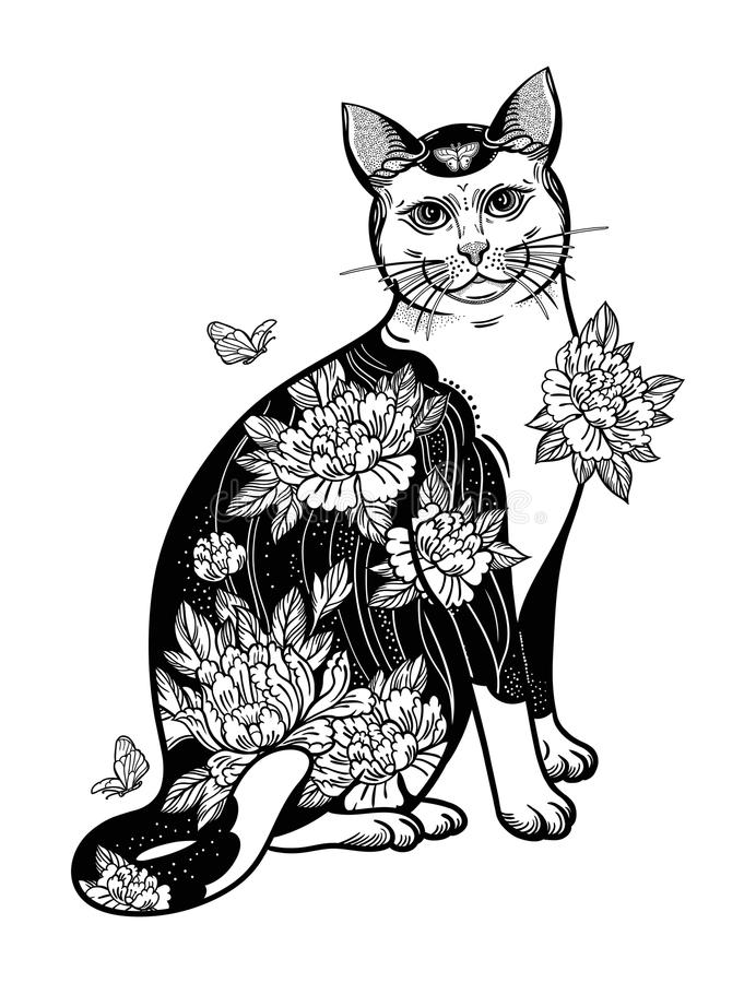 Folklore cat with flowers and butterfly tattoo. royalty free illustration