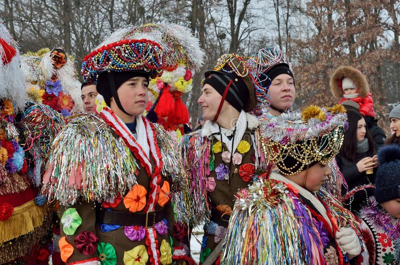 Folklore collective performs Malanka songs during ethnic festival of Christmas Carols,Ukraine stock photos