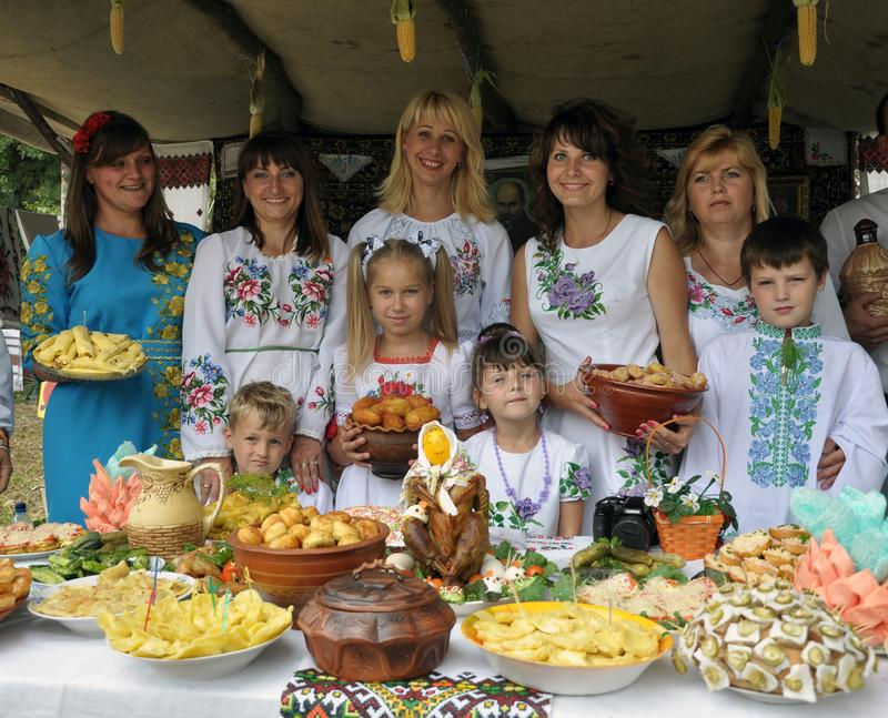 Folklore and ethnographic holiday of the village Probizhna royalty free stock photography