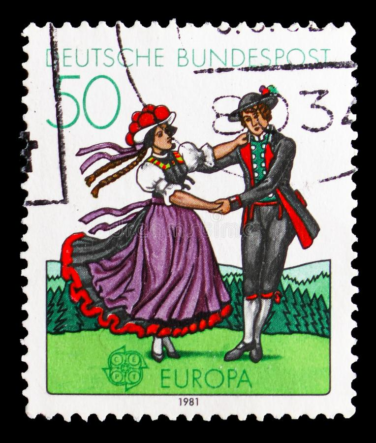 Folklore, Europa (C.E.P.T.) serie, circa 1981. MOSCOW, RUSSIA - SEPTEMBER 15, 2018: A stamp printed in German Federal Republic (Germany) shows Folklore, Europa ( stock photography