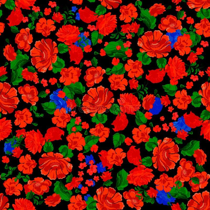 Folklore naadloos patroon met rode bloemen Vectorflard voor druk royalty-vrije illustratie