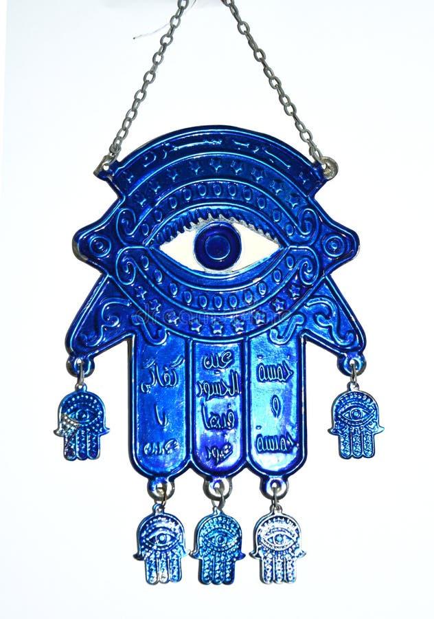 Folklore van het de hand de blauwe oog van Fatima stock fotografie