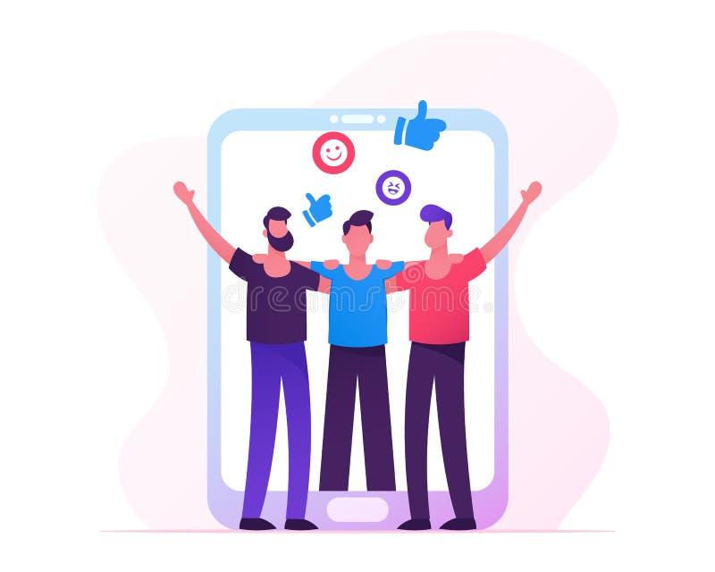 Folkmöte i internet, män som rymmer händer på den enorma Smartphone skärmen, manliga tecken som kramar, kamratskap, mänsklig förb vektor illustrationer