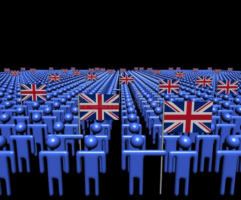 Folkmassa av abstrakt folk med illustrationen för många brittflaggor vektor illustrationer