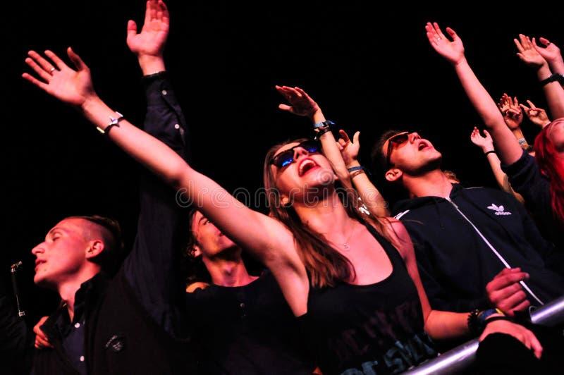 Folkmassa av att festa folk under en konsert fotografering för bildbyråer