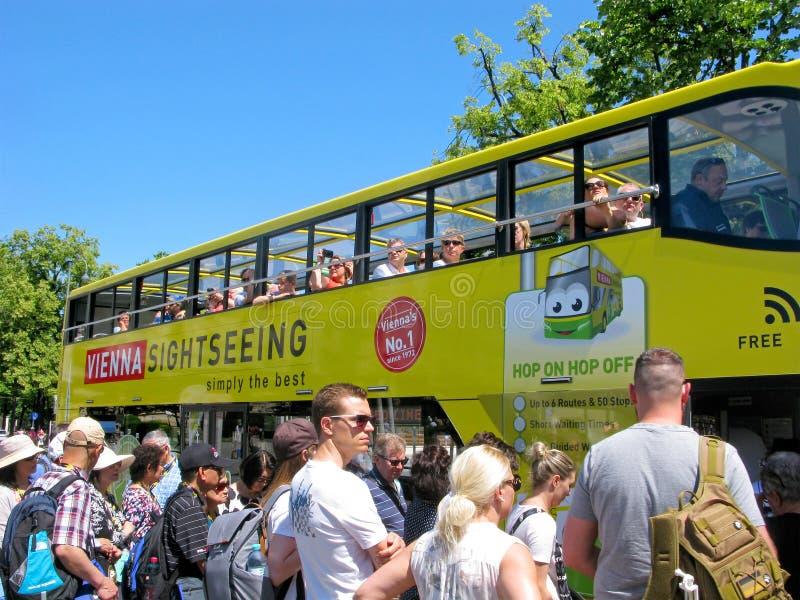 Folkmassa av folk, hållplats, turister i Wien arkivbilder
