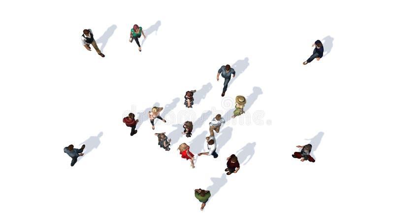 Folkmassa av folk i överkant-sikt på vit bakgrund royaltyfri illustrationer