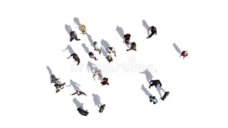 Folkmassa av folk i överkant-sikt på vit bakgrund stock illustrationer