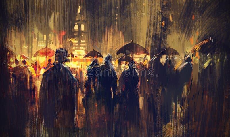 Folkmassa av folk med paraplyer på natten royaltyfri illustrationer