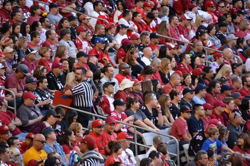 Folkmassa av folk på en fotbolllek royaltyfri bild
