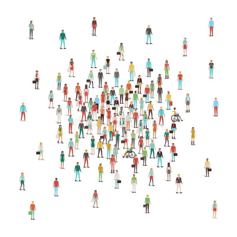 Folkmassa av folk som samlar på mitten royaltyfri illustrationer