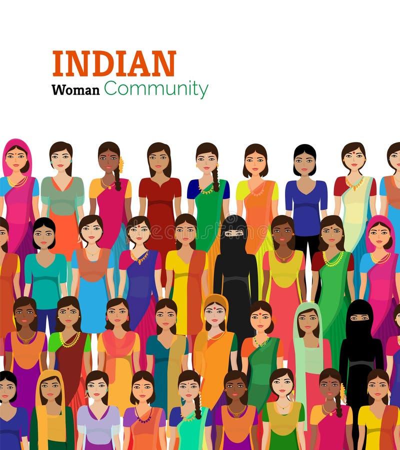 Folkmassa av indiska kvinnavektoravatars stock illustrationer