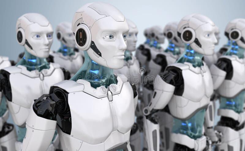 Folkmassa av robotar stock illustrationer