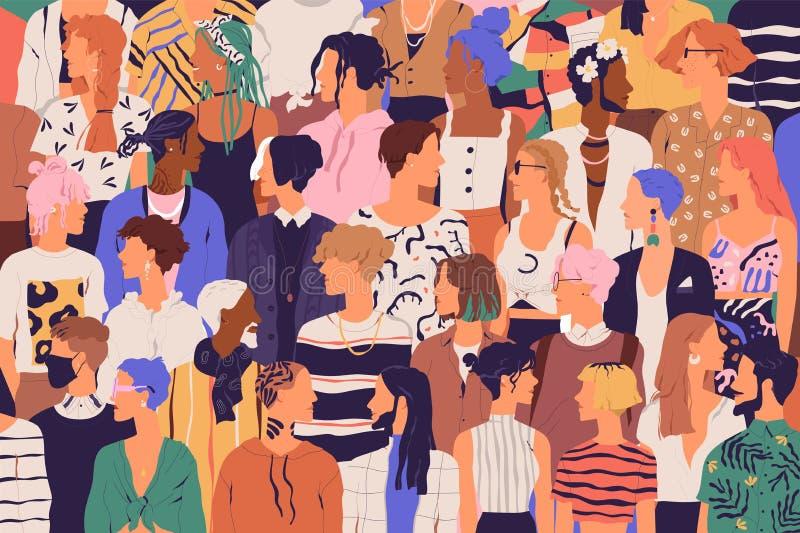 Folkmassa av unga och äldre män och kvinnor i moderiktig hipsterkläder Olik grupp av stilfullt folk som tillsammans står royaltyfri illustrationer
