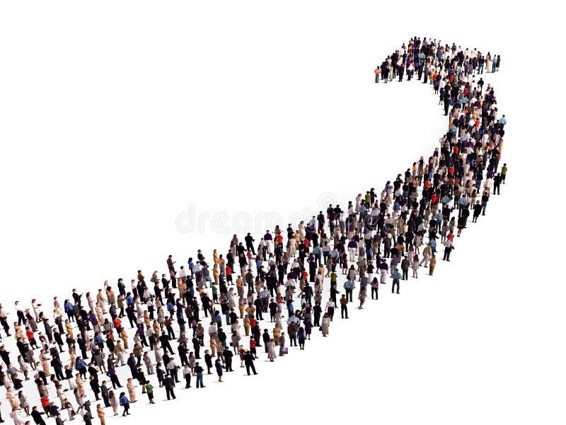 Folkmassa i formen av en pil stock illustrationer