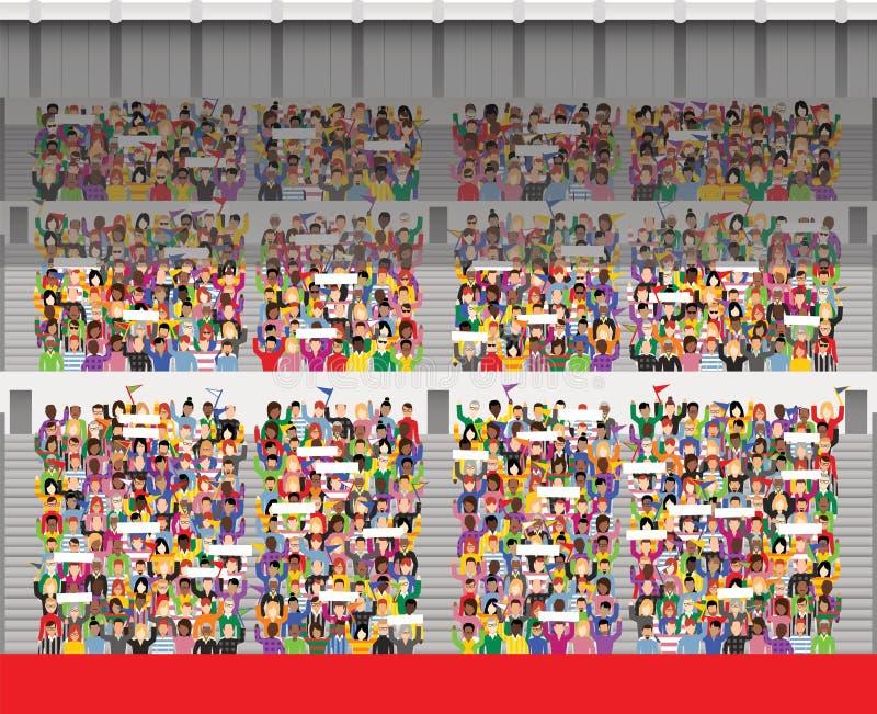 Folkmassa i stadionåskådarläktare vektor illustrationer