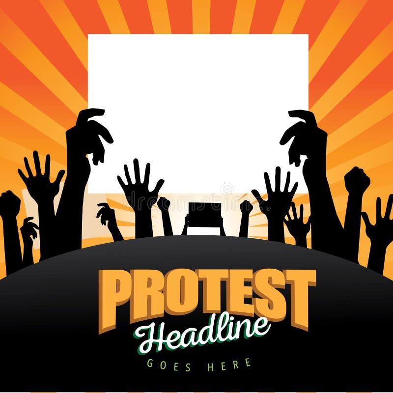 Folkmassa med bakgrund för protestteckenbristning vektor illustrationer