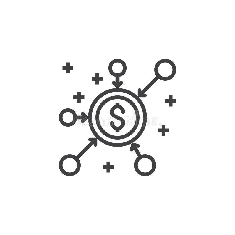 Folkmassafinansieringlinje symbol, översiktsvektortecken, linjär pictogram I vektor illustrationer