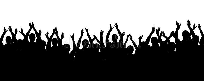Folkmassafolk som hurrar, jubelhänder upp Applådåhörare Åskådareteater royaltyfri illustrationer