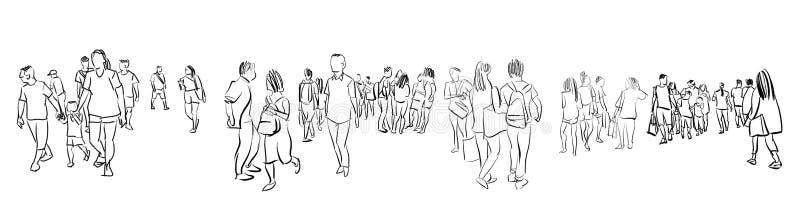 Folkmassagrupp människor som går frihandsfärgpulver, skissar panoramasikt stock illustrationer