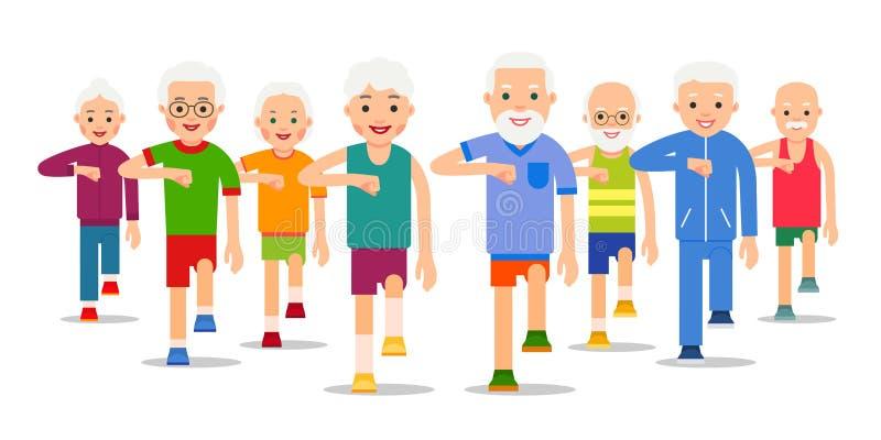 Folkmassan av äldre aktivt folk går Vuxna män och kvinnor utför före detta stock illustrationer