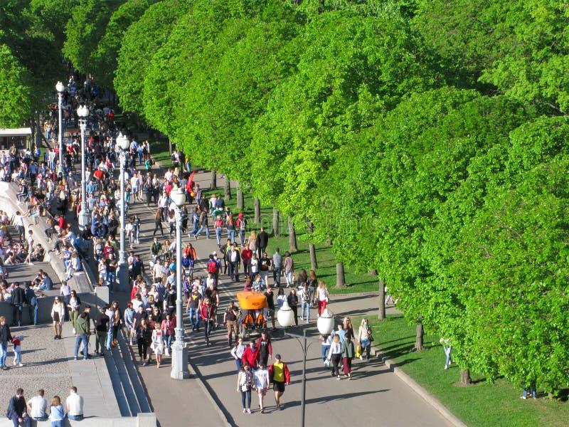 Folkmassan av folk i parkerar, den bästa sikten arkivbild