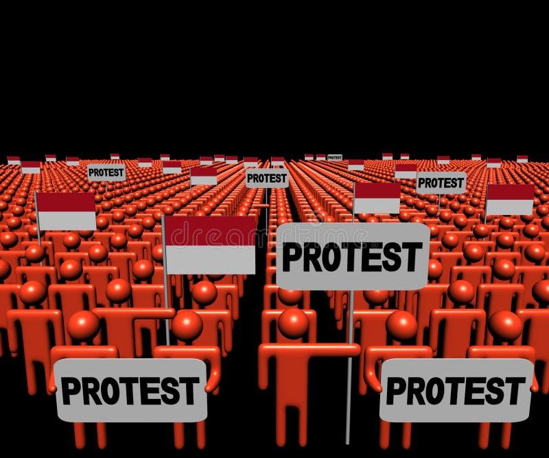 Folkmassan av folk med protesttecken och indones sjunker illustrationen royaltyfri illustrationer