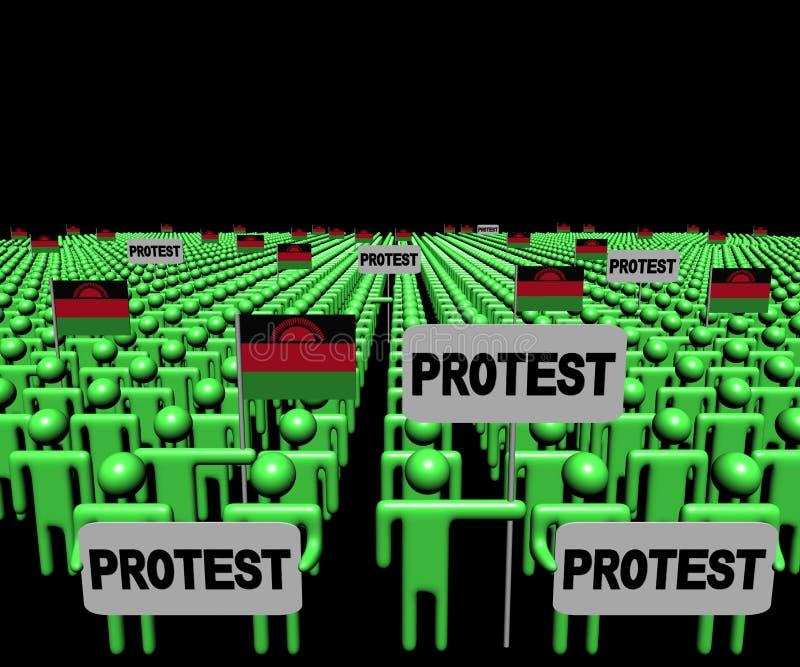 Folkmassan av folk med protesttecken och Malawi sjunker illustrationen stock illustrationer