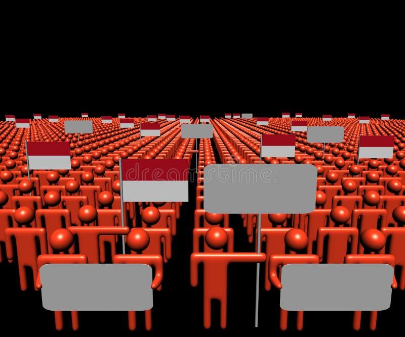 Folkmassan av folk med tecken och indones sjunker illustrationen vektor illustrationer