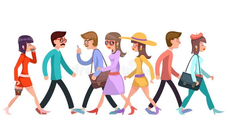 Folkmassan av trendiga ungdomarsom går tecken, går för designdesignen för tecknade filmen den plana illustrationen för vektorn stock illustrationer