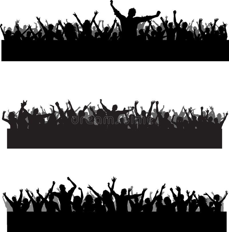 folkmassaplatser stock illustrationer