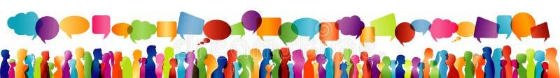 Folkmassasamtal Stort grupp människorsamtal Kommunikation - dialog mellan folk Kulör profilkontur vektor för anförande för bubbla stock illustrationer