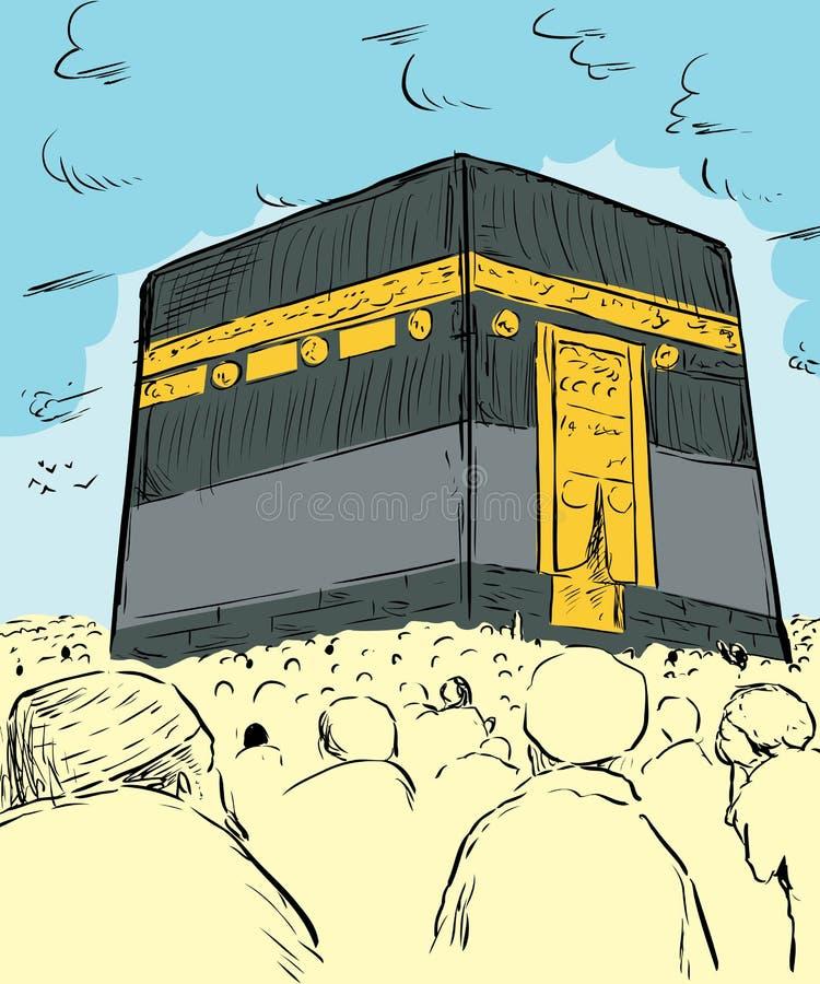 Folkmassor av folk runt om Kaabaen i Mecka vektor illustrationer