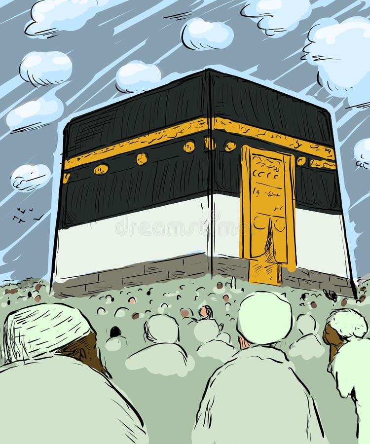 Folkmassor av vallfärdar runt om Kaabaen i Mecka vektor illustrationer