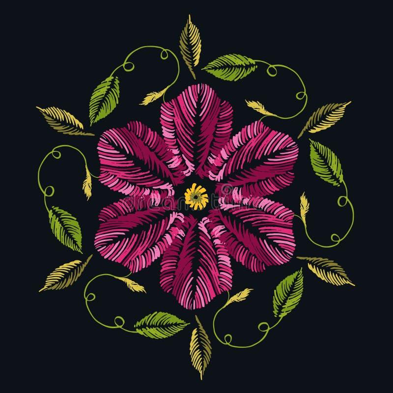 Folkmodeprydnad med blommor på svart bakgrund traditio stock illustrationer
