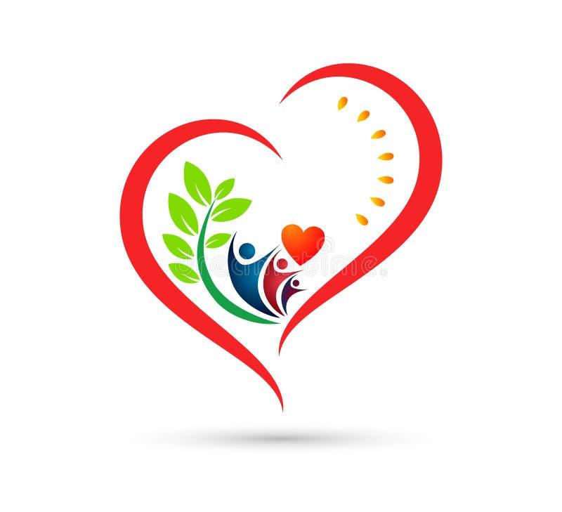 Folkomsorgsymbol Logo Design Element E vektor illustrationer
